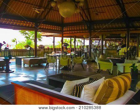 Jimbaran, Bali, Indonesia - April 14, 2014: View of the lobbi at Four Seasons Resort Bali at Jimbaran Bay