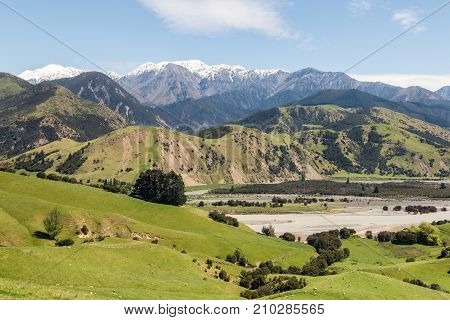 grassy hills above Clarence river valley in springtime, South Island, New Zealand