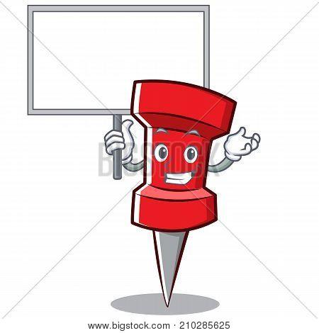 Bring board red pin character cartoon vector illustration