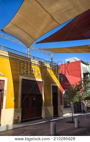 January 16 2016 Monterrey Mexico: shade installed over the street in the historic old town called 'Barrio Antiguo