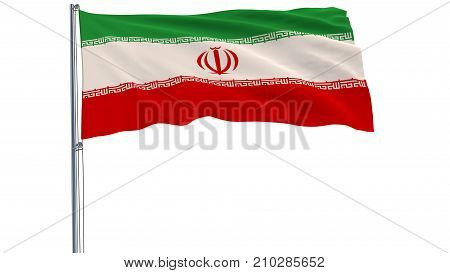 Flag of Iran on a flagpole fluttering in the wind on white background 3d rendering