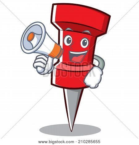 With megaphone red pin character cartoon vector illustration