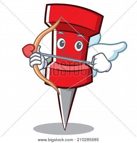 Cupid red pin character cartoon vector illustration