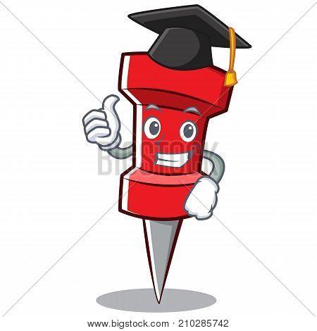Graduation red pin character cartoon vector illustration