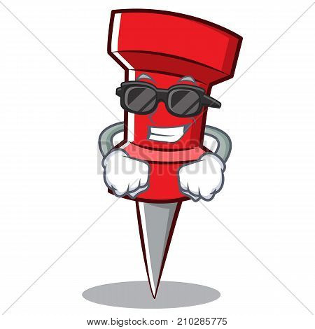 Super cool red pin character cartoon vector illustration