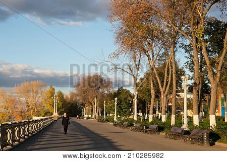 SAMARA, RUSSIA - OCTOBER 12, 2016: Autumn view of the Old Embankment in Samara. The city is situated in the southeastern part of European Russia on the east bank of the Volga river.