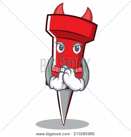 Devil red pin character cartoon vector illustration