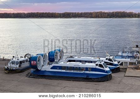 SAMARA, RUSSIA - OCTOBER 12, 2016: The passenger Hovercraft