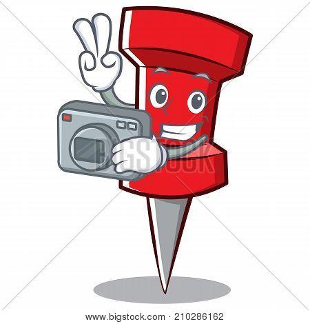 Photography red pin character cartoon vector illustration
