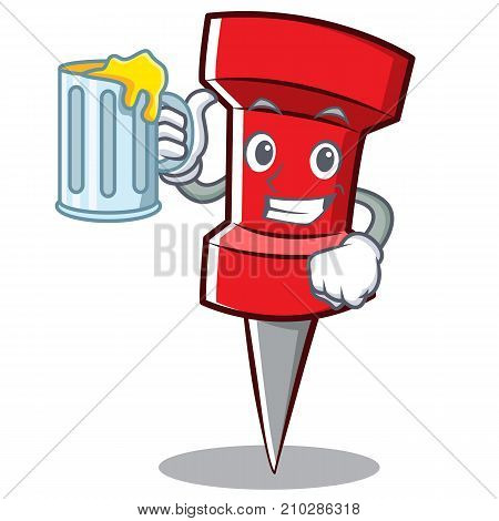 With juice red pin character cartoon vector illustration
