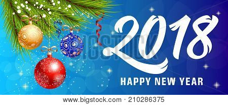 2018 Happy New Year lettering with baubles over blue background with bokeh. Holiday, celebration, festivity. Party concept. Can be used for greeting card, poster, leaflet and brochure