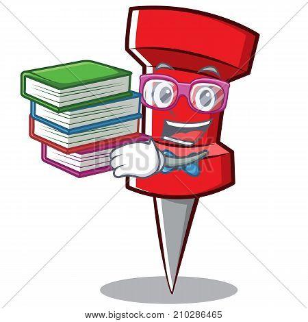 Geek red pin character cartoon vector illustration