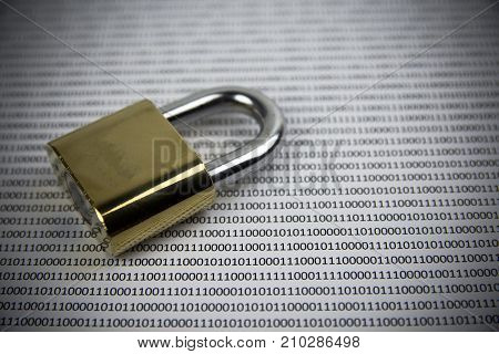 Key on binary code. Concept Internet security.