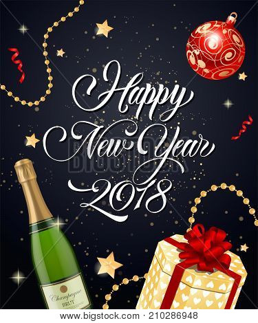 Happy New Year 2018 lettering with decorative elements over black background with bokeh. Holiday, celebration, festivity. Party concept. Can be used for greeting card, poster and leaflet