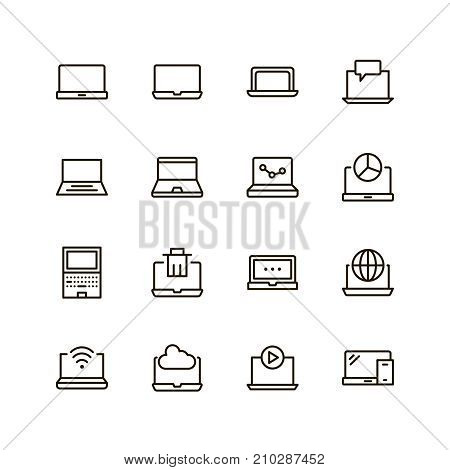 Laptop icon set. Collection of high quality outline technology pictograms in modern flat style. Black computer symbol for web design and mobile app on white background. Internet line logo.