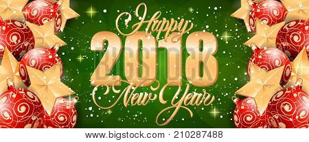Happy 2018 New Year lettering with golden and red ornaments on green background with sparkles. Holiday, celebration, festivity. Party concept. Can be used for greeting cards, posters and brochure