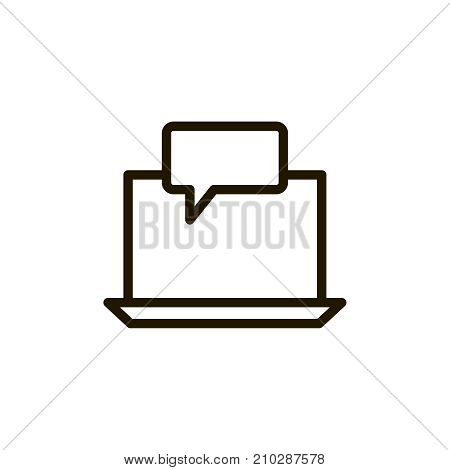 Laptop icon flat icon. Single high quality outline symbol of computer for web design or mobile app. Thin line signs of technology for design logo, visit card, etc. Outline logo of internet