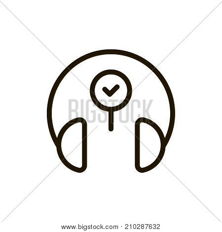 Headphones icon flat icon. Single high quality outline symbol of music for web design or mobile app. Thin line signs of headset for design logo, visit card, etc. Outline logo of audio