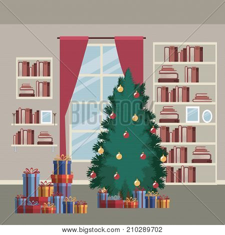 christmas home scene with window background and bookshelf of books and christmas tree and gifts vector illustration