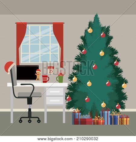 christmas scene with window background and office desktop with desktop computer and big christmas tree with gifts vector illustration