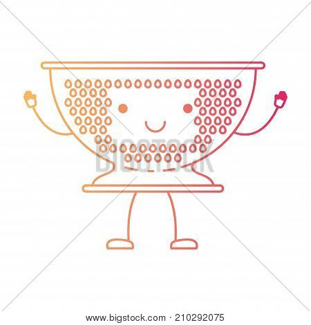 kitchen drainer cartoon in degraded red color contour vector illustration