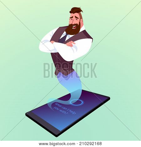 Modern Smartphone With Virtual Assistant Like A Genie.