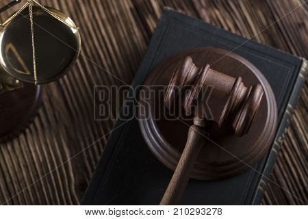 Legal system concept. Mallet of the judge and legal code.