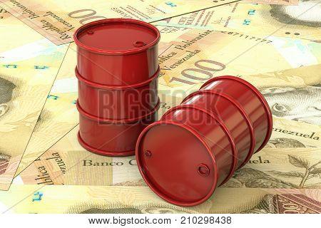 3d illustration: Red barrels of oil lie on background of banknote hundred Venezuelan Bolivar, Venezuela. Petroleum business, black gold, gasoline production. Purchase sale, auction, stock exchange.