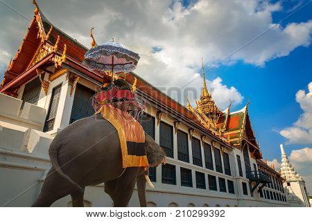 Bangkok, Thailand - December 24 2014: The Grand Palace Made Up Of Numerous Buildings, Halls, Pavilio