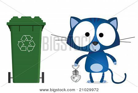Cat recycling message isolated on white background poster