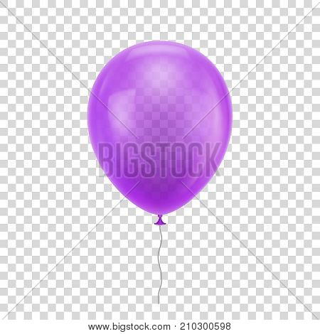 Purple realistic balloon. Violet ball isolated on a transparent background for designers and illustrators. Balloon as a vector illustration