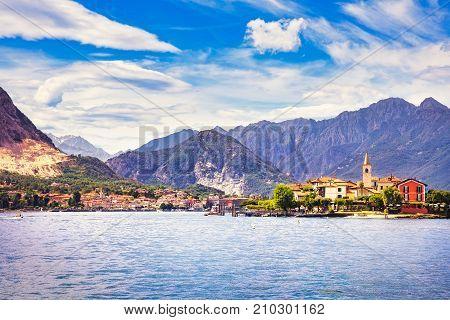 Isola dei Pescatori fisherman island in Maggiore lake Borromean Islands Stresa Piedmont Italy Europe. Long Exposure.