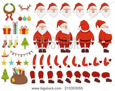 Mascot creation kit of christmas character. Santa in different keyframes. Santa claus with beard in xmas costume. Vector illustration