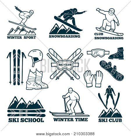 Labels set for club of skier. Silhouette of ski sportsmen. Symbols of winter sport for logos design. Ski sport club badge, stick and snowboard illustration