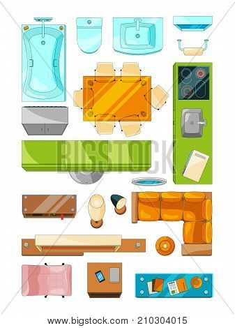 Different furniture set for layout of the apartment. Vector pictures set top view. Interior apartment plan room, sofa and table illustration