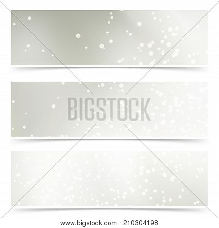 Bright halftone New Year holiday cards collection. Empty web footer banners with space for text. Vector illustration