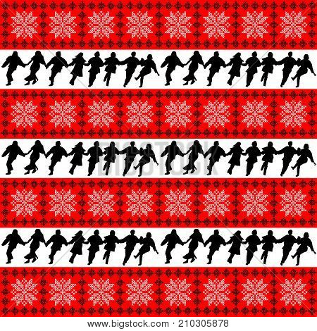 Ethnic motifs background with folk dance ensemble silhouettes
