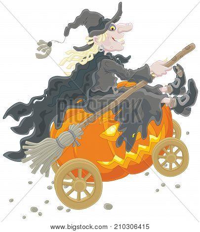 Halloween witch riding on her big pumpkin