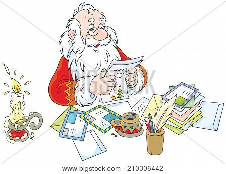 Father Christmas at his table with letters from children