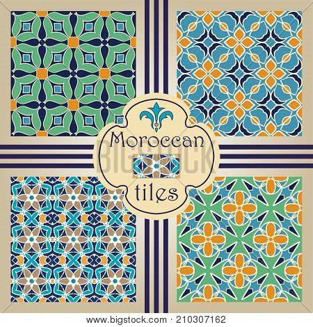 Vector seamless texture collection. Set of beautiful colored patterns for design and fashion with decorative elements. Moroccan tiles, Arabic, Tunisian, Turkish ornaments