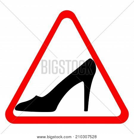 Woman driving sign. Warning mark. Image of elegant shoe. Black icon in red triangle isolated on white background. Ladies symbol. Logo for car or another. Stock vector illustration