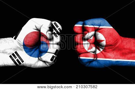 Conflict Between South Korea And North Korea - Male Fists
