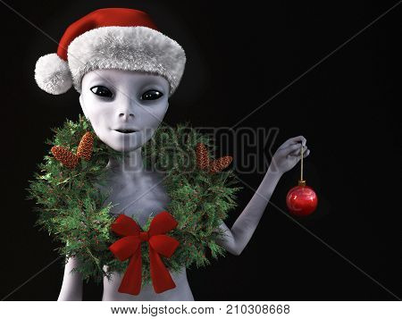 3D rendering of a smiling alien wearing a holiday wreath and Santa hat for Christmas. Black background.