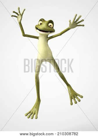 3D rendering of a smiling cartoon frog jumping for joy. White background.
