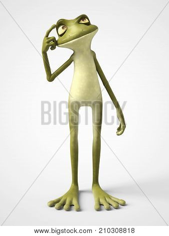 3D rendering of a smiling cartoon frog thinking about something. White background.