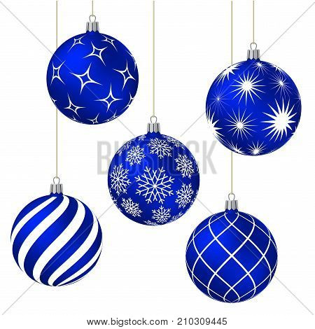 Blue christmas balls with different patterns on white. Vector illustration.