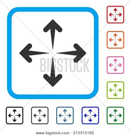 Expand Arrows icon. Flat gray pictogram symbol in a light blue rounded rectangle. Black, gray, green, blue, red, orange color variants of Expand Arrows vector.