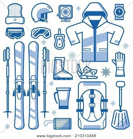 Mountain skiing gear and accessories collection. Ski icons set with jacket, avalanche rescue kit, snow boots, poles and other winter sport and activity essentials. Skiing equipment vector elements.