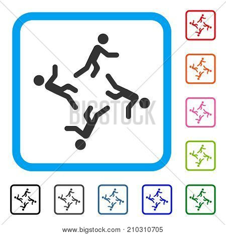 Moving Men icon. Flat grey iconic symbol inside a light blue rounded square. Black, gray, green, blue, red, orange color versions of Moving Men vector. Designed for web and application UI.