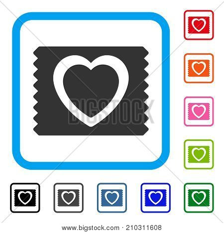 Heart Condom Pack icon. Flat grey pictogram symbol in a light blue rounded squared frame. Black, gray, green, blue, red, orange color variants of Heart Condom Pack vector.